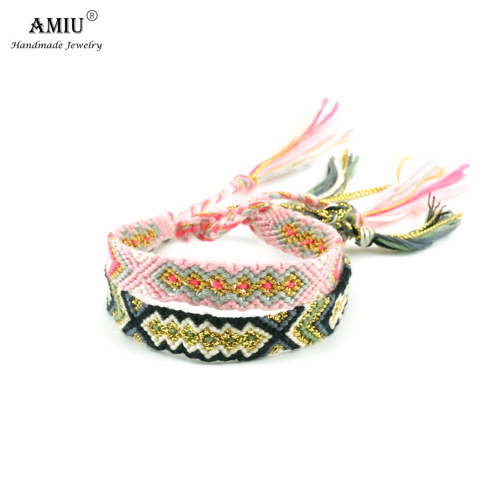 AMIU Friendship Armbånd Vevd Tau String Colorful Boho Broderi Bomull Tassel Dropshipping Armbånd Hippie For Women Men
