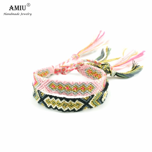 AMIU Friendship Bracelet Woven Rope String Colorful Boho Embroidery Cotton Tasse