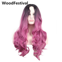цена на WoodFestival dark roots blue ombre wig pink long synthetic wigs for black women heat resistant wavy cosplay hair