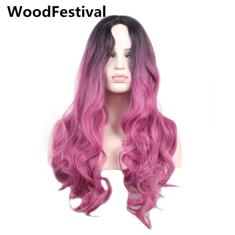WoodFestival Women Synthetic Wig Heat Resistant Long Wavy Black Root To Grey Burgundy Green Pink Purple Blue Cosplay Wigs
