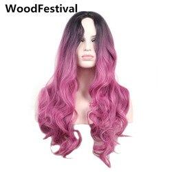 WoodFestival perruque synthétique longue ondulée résistant à la chaleur Cosplay noir à rouge Ombre gris vert rose violet bleu marron femmes perruques de cheveux