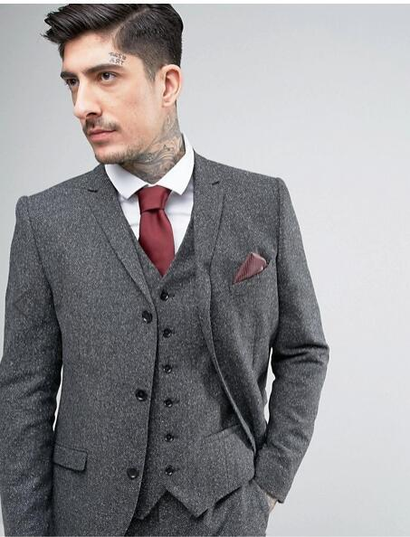 Latest Coat Pant Designs Grey Tweed Suits Men Formal Slim Fit Prom Blazer Winter Suits Pants Tailored Tuxedo 3 Piece Terno Ht2