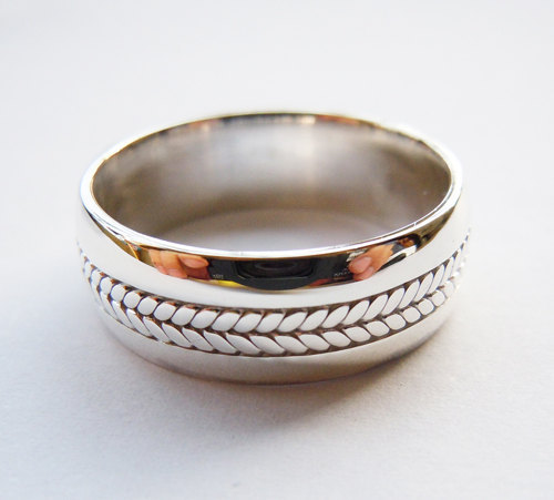 Mens Solid 925 Sterling Silver 8mm Rope Ring