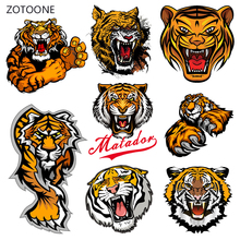 ZOTOONE Tiger Head Iron on Transfer Patches Stripes Clothing Diy Patch Heat for Clothes Decoration Stickers Gift G