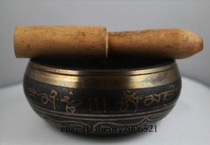 3.5 коллекционирования Восточный Азиатский Superb Тибетский ОМ кольцо Гонг Yoga Поющая чаша w/strika античный сад украшения серебро латунь