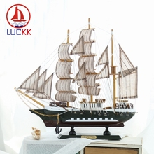 LUCKK 33CM Scandinavian Style Wooden Model Ships Home Interior Decoration Retro Wood Crafts Sailboat Kids Gift Souvenirs