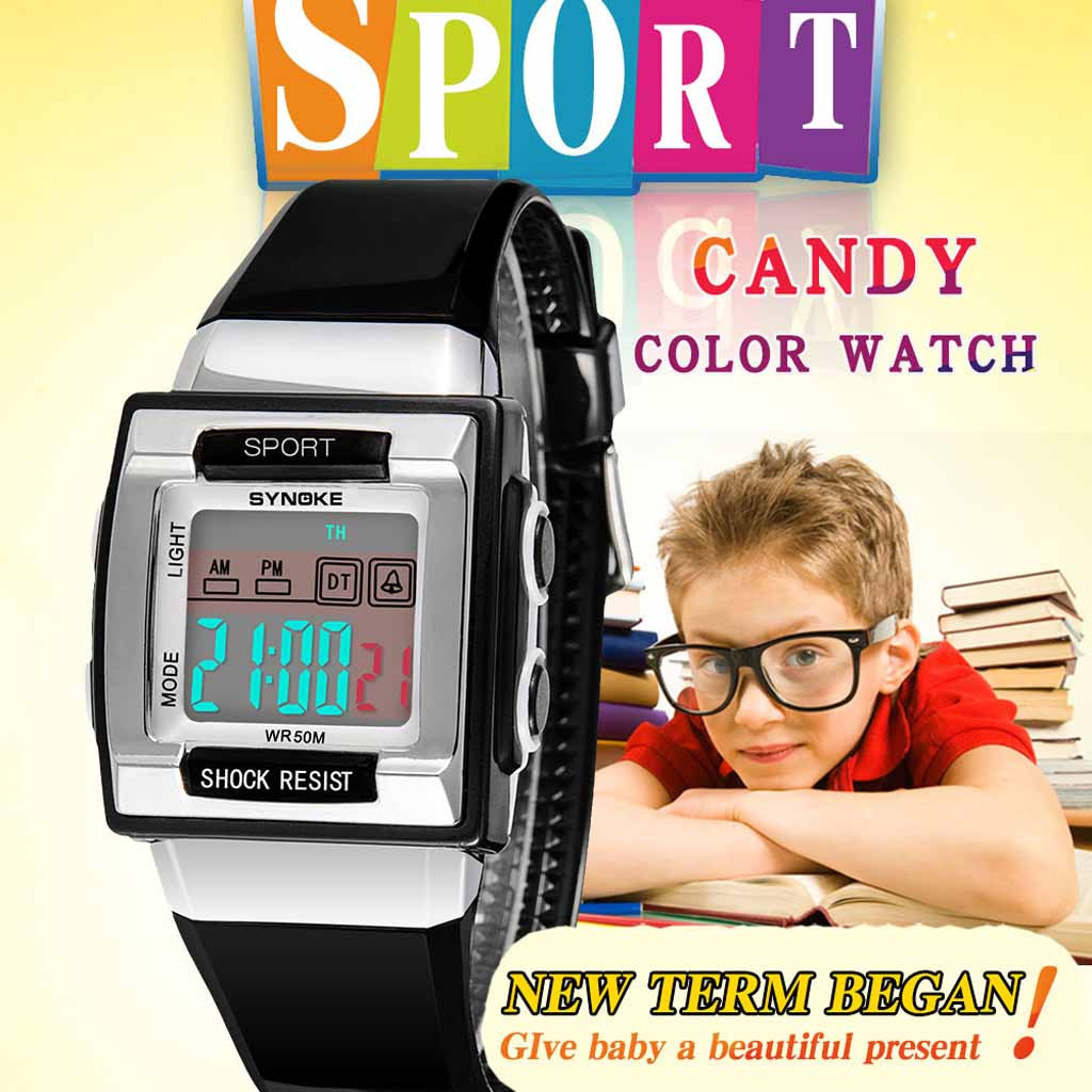 Luminous Alarm Waterproof Multifunctional Children Student Electronic Men's Watch Wrist Party Decoration Suit Dress Watch Gifts