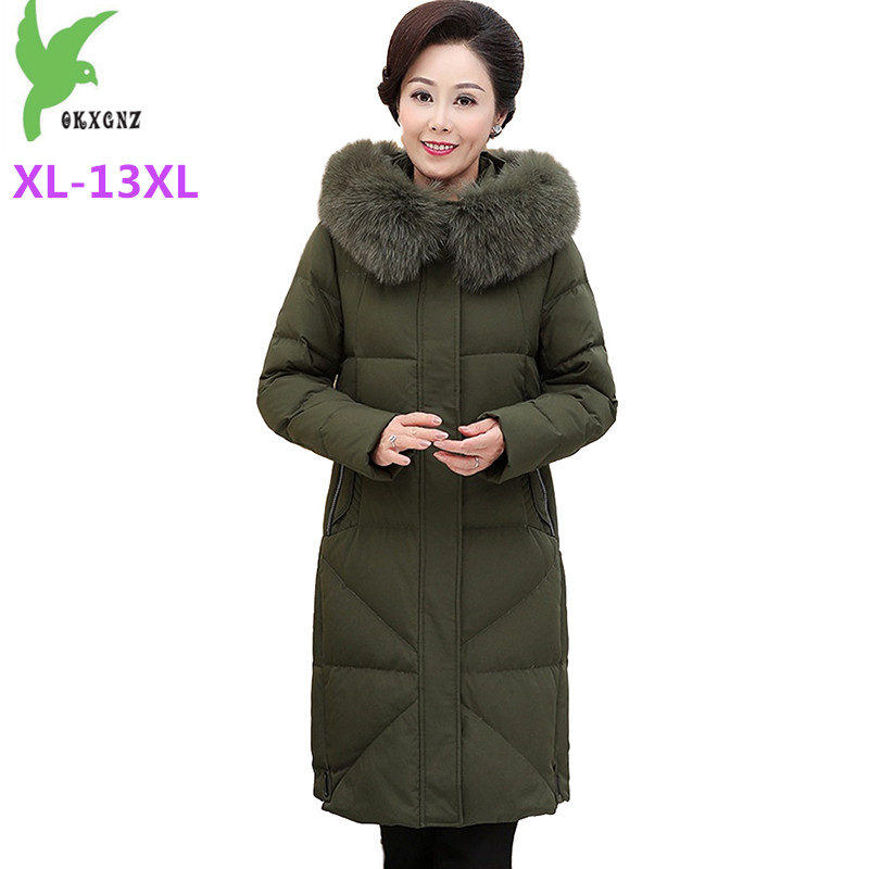 Plus size XL-13XL   Down   jacket Women Winter Parkas Thicken Hooded   Coat   Middle aged Female Super Large size White duck   down     Coats
