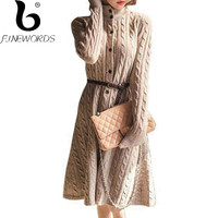 FINEWORDS Vintage Women Long Sweater Dress For Winter Single breasted Turtleneck Warm Knitted Dresses Plus Size Korean vestido