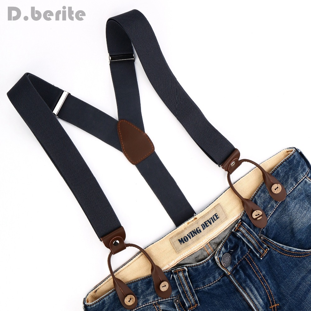 Solid Plain Braces Men's Women Suspender Adjustable PU Leather Adult Belt Grey Braces BD708