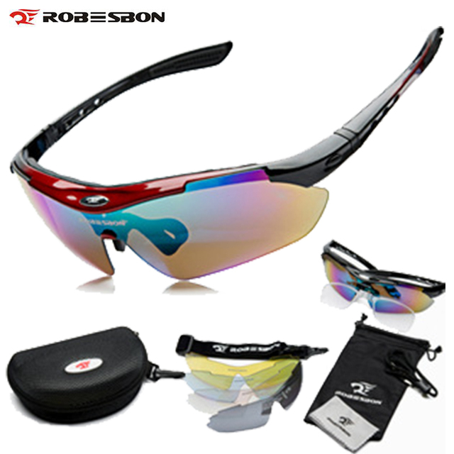 ROBESBON Brand Sports Bicycle Cycling Sunglasses 2016 Men Women MTB Bike Glasses Eyewear 5 Lens