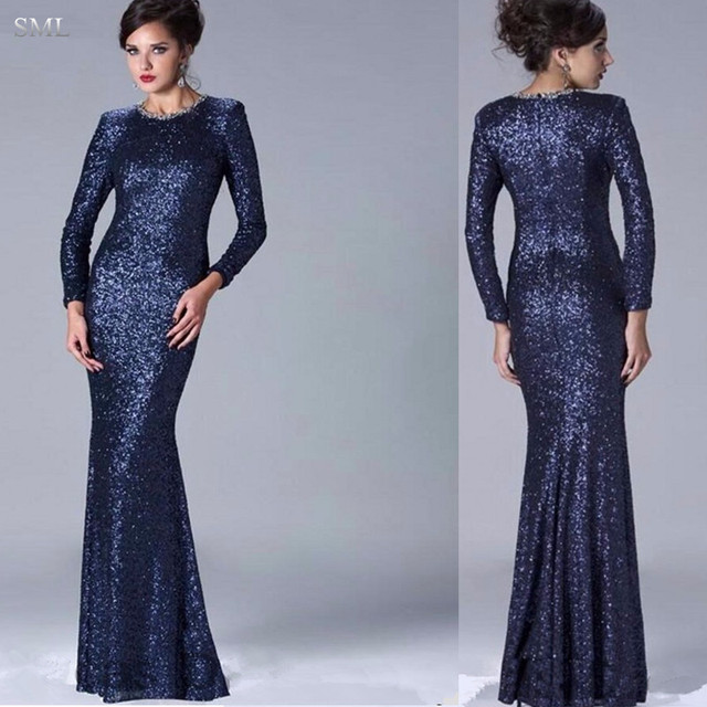 SML Luxury Navy Blue 2017 Evening Dresses Long Sleeves Formal Gowns ...