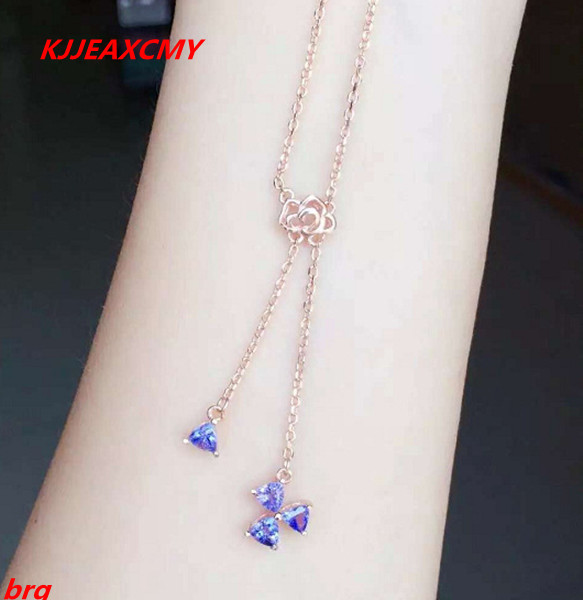 KJJEAXCMY boutique jewelry, 925 sterling silver plated rose gold Tanzanite natural female necklace kjjeaxcmy boutique jewels 925 sterling silver plated rose gold with natural tourmaline collarbone necklace chain