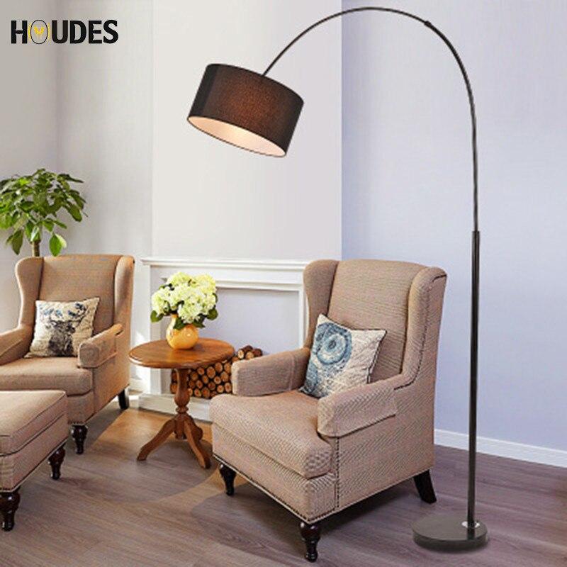 Nordique moderne en acier inoxydable lampe de plancher de tissu pour salon chambre chevet lampe de pêche noir blanc vertical lampe 220 v