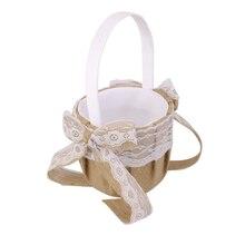 Cesta rústica de la muchacha de la flor de la boda del yute de la arpillera del Vintage W. Encaje Bowknot Decoración