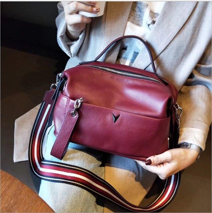 Nouveauté 2019 sacs en cuir véritable femmes Vintage oreiller en cuir de vache sac à main dames solide décontracté croix corps Bolsa Feminina Tot