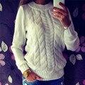 2016 nuevos Europeos y Americanos de color sólido cuello alto cuello redondo conjuntos de imprimación suéter de punto invierno de las mujeres