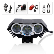 6000LM 3x XML U2 LED Flashlight Headlight Torch Bike Bicycle Light Taillight Rear Light