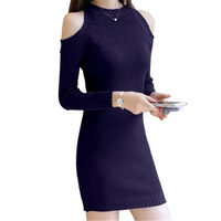 Long Sleeved Women Fall Slim Package Hip Jersey Dress Winter Pullovers Women S Off Shoulder Tights