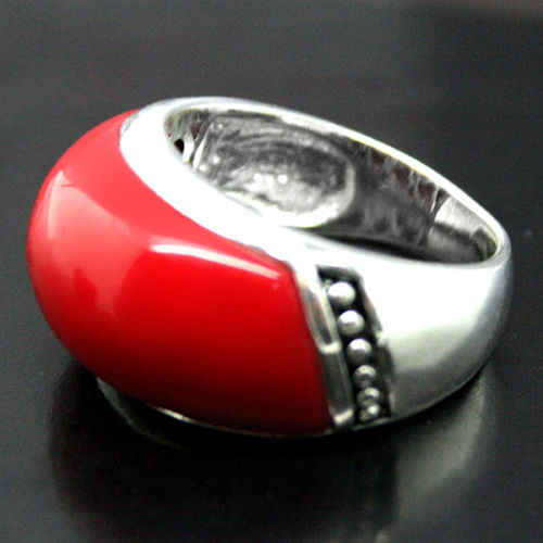 Fashion Jewelry 925 Sterling Silver 10*20mm Red Coral Ring Size 7/8/9/10