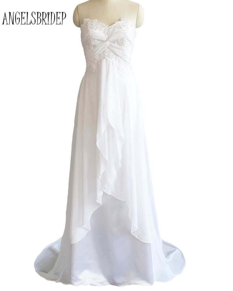 ANGELSBRIDEP Long Beach Wedding Dresses Lace Applique Sweetheart White Ivory Bridal Gown Lace-Up Stock Size 6 8 10 12 14 16