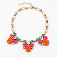 Chic Factory Beautiful Shiny Gold Color Orange Multi-faced Flower Girls Necklace