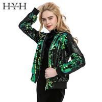 HYH HAOYIHUI Autumn Women Sequin Coat Green Bomber Jacket Long Sleeve Zipper Streetwear Tunic Loose Casual Basic Lady Outwear