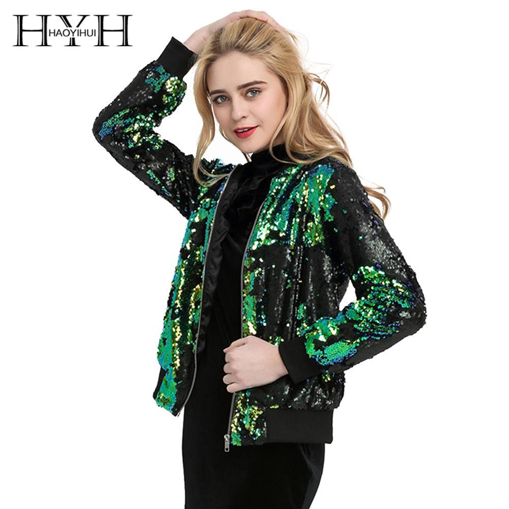 HYH HAOYIHUI otoño mujer abrigo de lentejuelas verde Bomber chaqueta de manga larga cremallera Streetwear túnica suelta Casual básica mujer Outwear