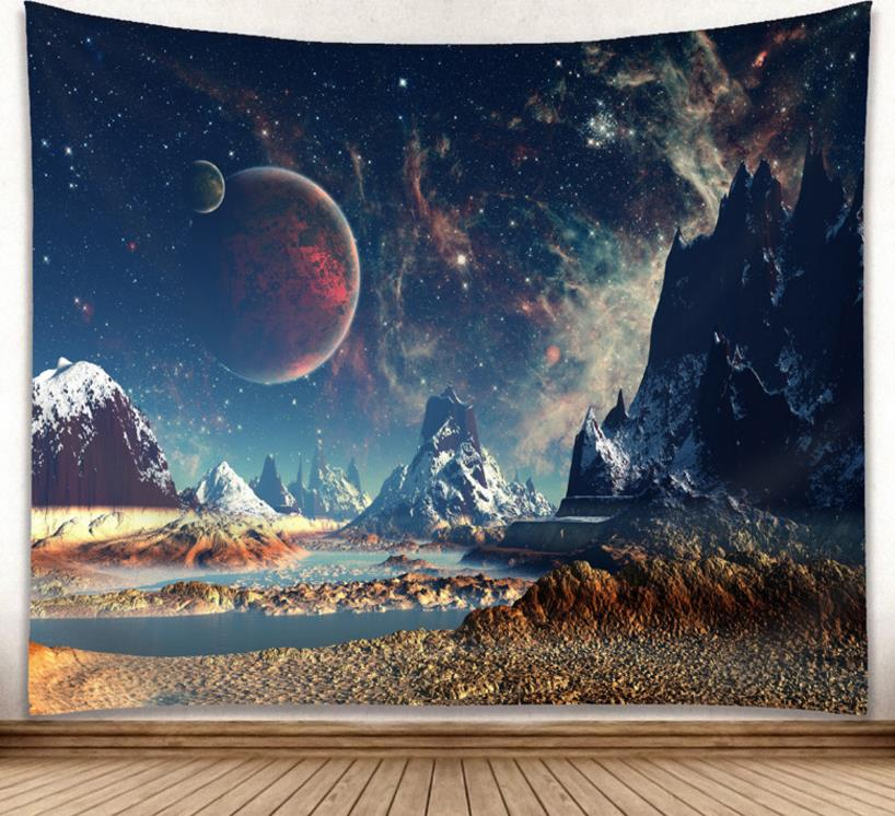 Cosmic Galaxy Starry Sky Tapestry Forest Sun Rays Woods Foliage Print Wall Hanging Home Decor Beach Towel Scarf Picnic Yoga Mat
