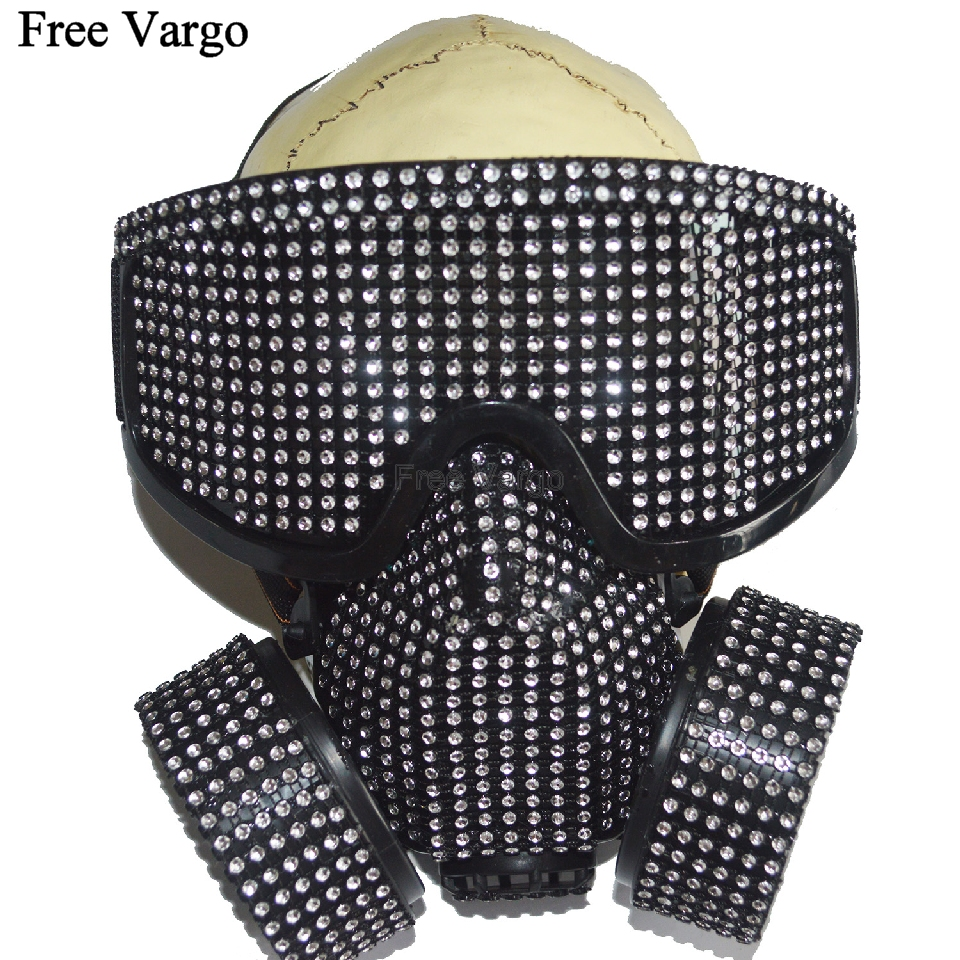 Holographic Rave Halloween Streampunk Burning Man Rhinestone Costume Cyber Goth Masquerade Gas Mask Goggles Cosplay Outfit