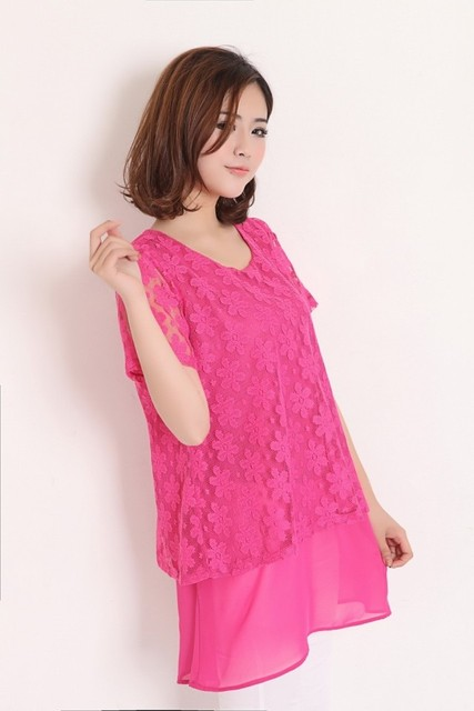 Summer new arrival 2013 plus size lace pink faux two piece t-shirt half sleeve chiffon shirt