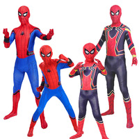 Adult Kids Boys Spider Man Homecoming Costume Children Iron Spiderman Suit Superhero Cosplay Bodysuit Halloween Party Outfit