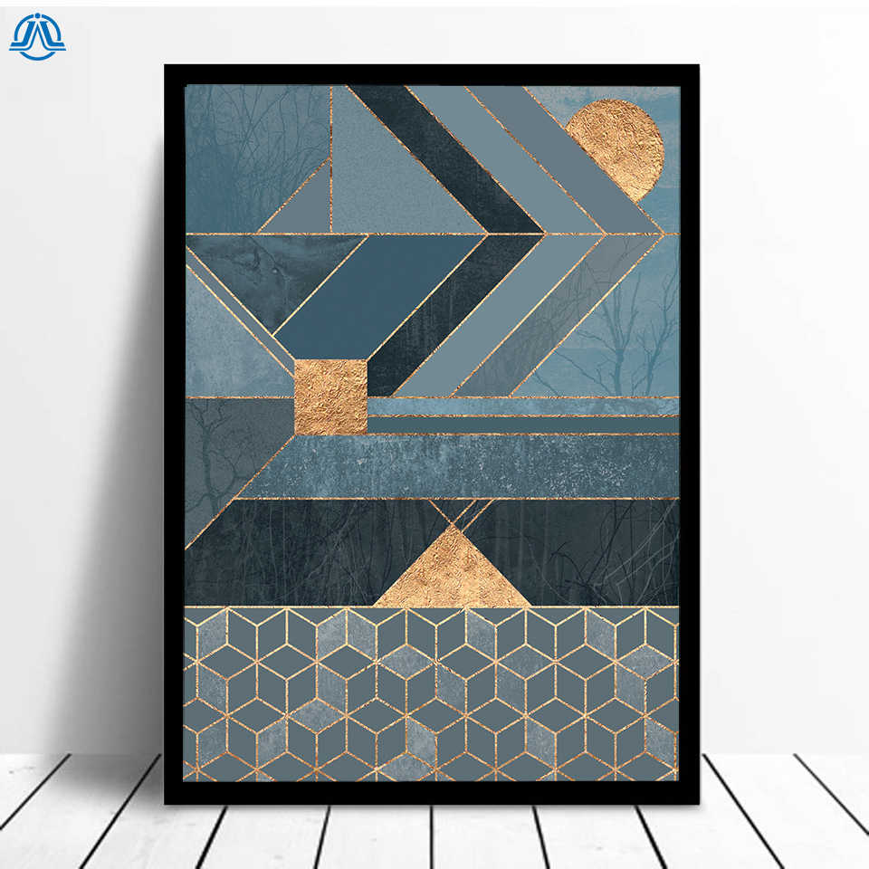 Abstract Geometric Canvas Painting Gold Line Cube Poster and Prints Art Wall Pictures for Living Room Modern Home Decor No Frame