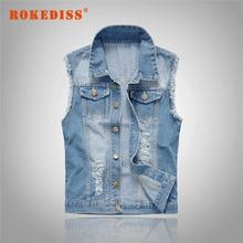 Men Denim vest cowboy male waistcoat Sleeveless Jackets Men Jeans Waistcoat Hole Washed Brand Clothing Men's Colete G282