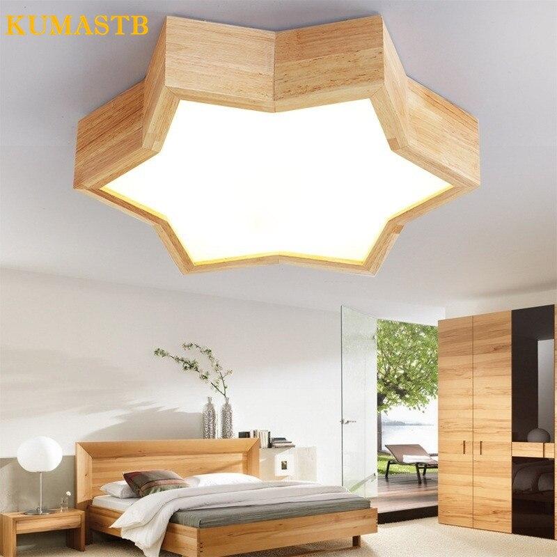 Nordic Ceiling Light LED Bedroom Ceiling Lamp Cartoon Creative Living Room Light Wood Star Ceiling Light for Children Room