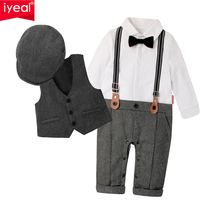 IYEAL NEWEST 2018 Newborn Boy Clothing Sets Top Quality Cotton Gentleman Spring Fashion Rompers + Vest + Hat Autumn Baby Clothes