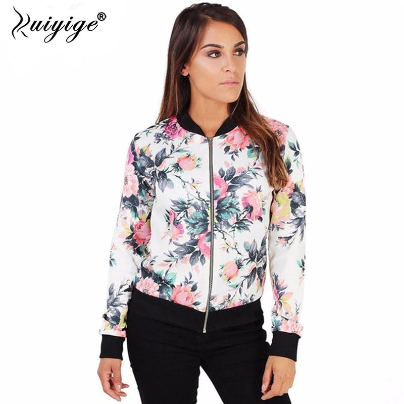 Ruiyige Women 2017 Autumn Winter Fashion Flower Print Full Sleeves Stand Collar Zipper Short Coats Casual   Basic     Jackets   Outwear