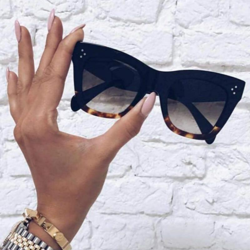 Classic Cat Eye Sunglasses Women Vintage Oversized Gradient Sunglasses Shades Female Luxury Designer UV400 Sunglass