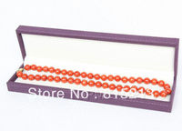ddh0015 WOW long 10mm perfect round red coral necklace 14KGP 28% Discount