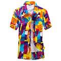 Marca-clothing camisa de verano 2017 de los hombres de la playa, hombres Floral Suelta de manga Corta Camisas Casuales Ropa de Los Hombres camisa de puño francés Plus Size # B2