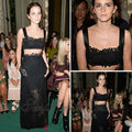 2014 Emma Watson Red Carpet Dress Sexy Sweetheart A line Natural Waist Crop Top Floor Length Lace Two Pieces Celebrity Dresses