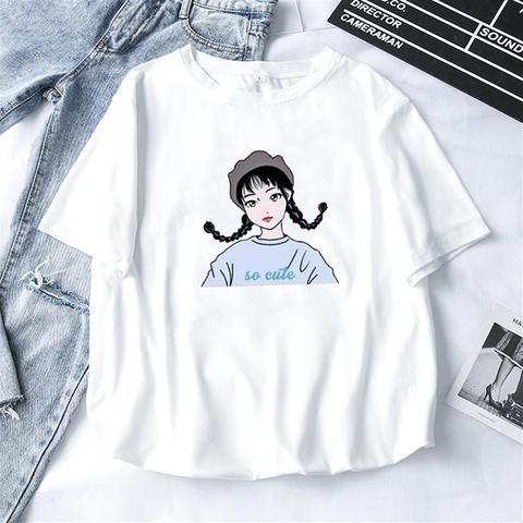 2019 Fashion Cool Print Female T-shirt White Cotton Women Tshirts Summer Casual Harajuku T Shirt Femme Top Pakistan