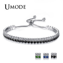 UMODE 2018 New Fashion Colorful Zircon Crystal Bracelets for Women Double Layer White Gold Box Chain Bracelet Jewelry AUB0125