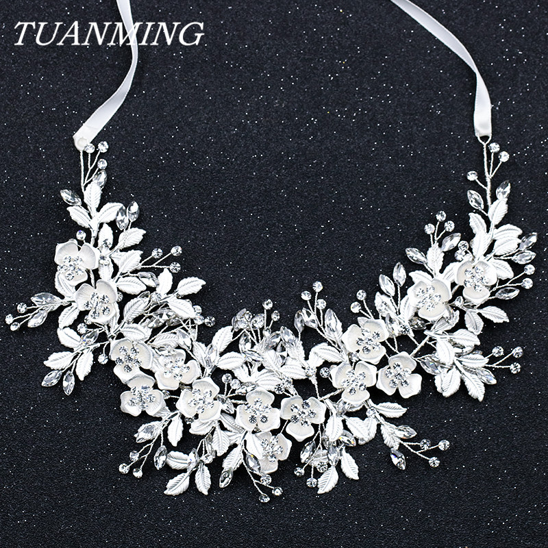 цена на Crystal Silver Floral Bridal Headband Wedding Hair Accessories Handmade Flower Hair Vine Bride's Tiara Headband Hair Jewelry