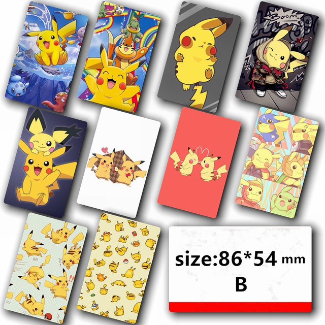 10pc l pokemon card sticker for credit card decorations pikachu wall sticker amination poster diy
