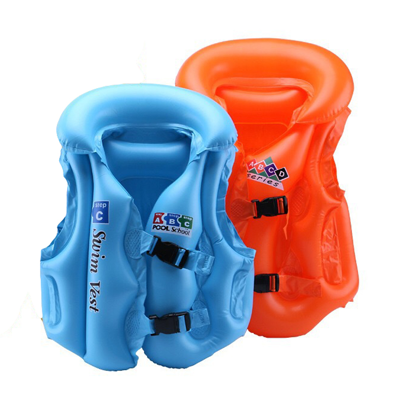 Summer Children Inflatable Swimming Life Jacket Solid Color Children's Safety Training Inflatable Swimming Suit For Outdoor