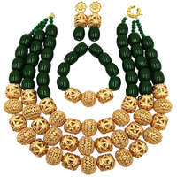 Fashion Green Artificial Coral and Gold Dubai African Beads Jewelry Set Nigerian Wedding Necklace Bridal Jewelry Sets FSH 006