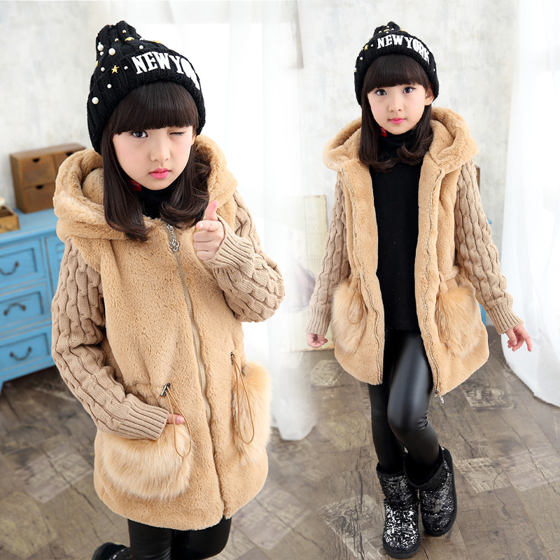 new winter children clothing baby girls outerwear plus velvet thickening autumn and winter faux medium-long wadded jacket autumn winter women national trend wool collar wadded jacket