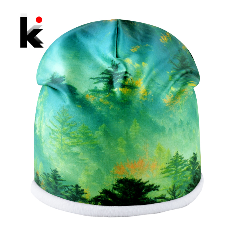 2018 Winter Hats For Men And Women Outdoor Warm Bonnet Caps Unisex Printing Personality   Skullies     Beanies   Couples Fashion Touca