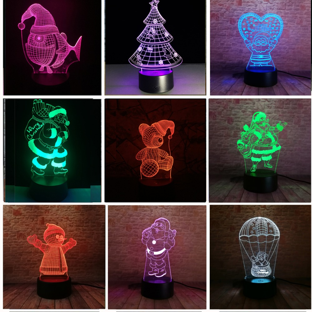 Xmas Series Christmas Decorations Home Party 3D Lamp LED Night Light Luminaria Santa Claus Tree Snowman Christmas&New Year Gifts 3pcs flying xmas santa ride greeting cards 3d laser cut pop up paper handmade postcards christmas party gifts supplies souvenirs